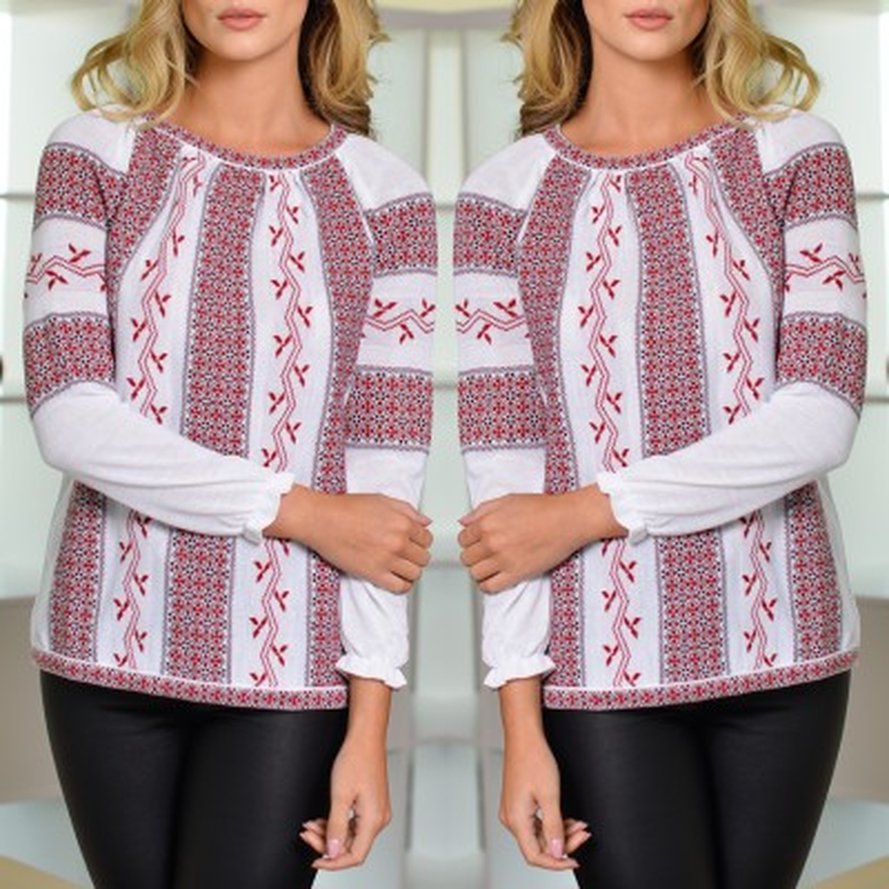 Bluza din tricot cu model stilizat traditional - alba 02