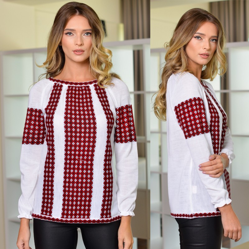Bluza din tricot cu model stilizat traditional - alba 03