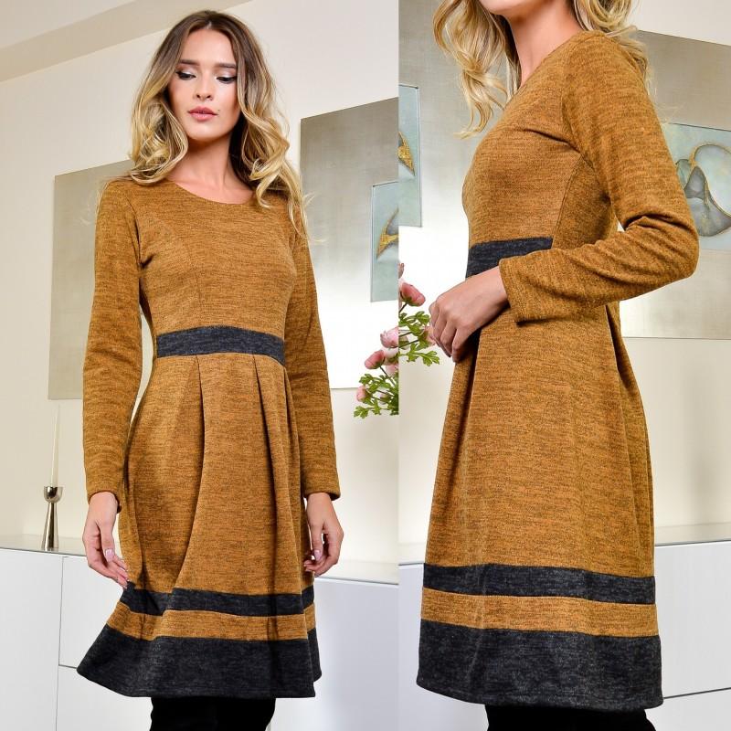 Rochie clos din tricot si mohair, galbena - Delia