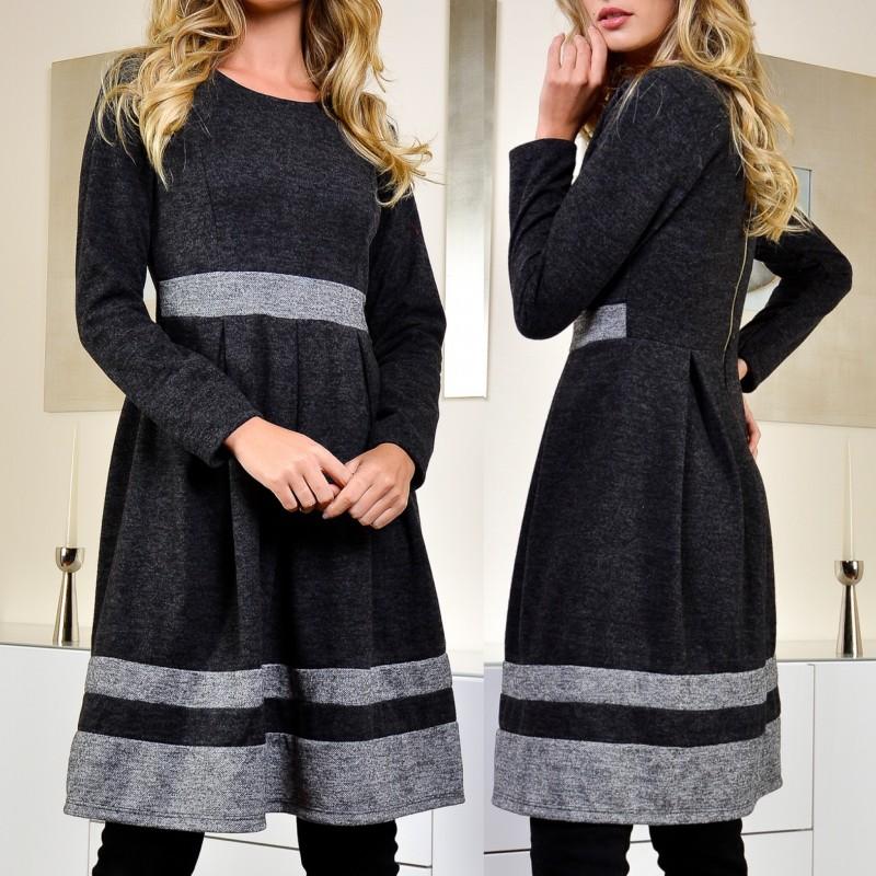 Rochie clos din tricot si mohair negru cu gri - Delia