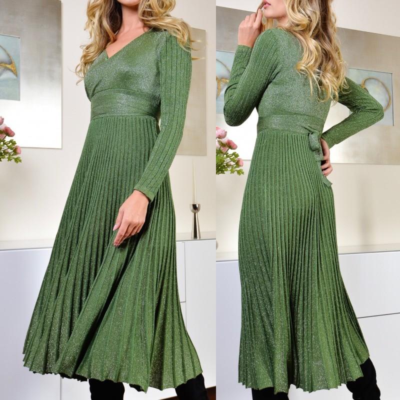 Rochie verde plisata evantai cu fir lame