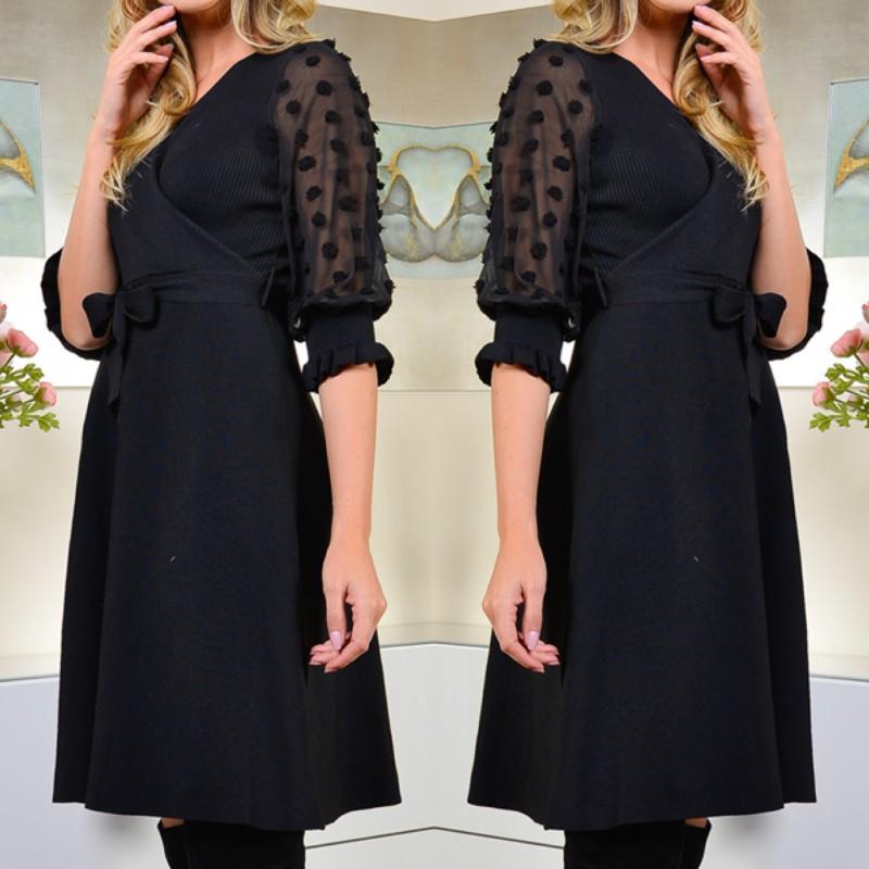 Rochie neagra Eleganta stil bandaj