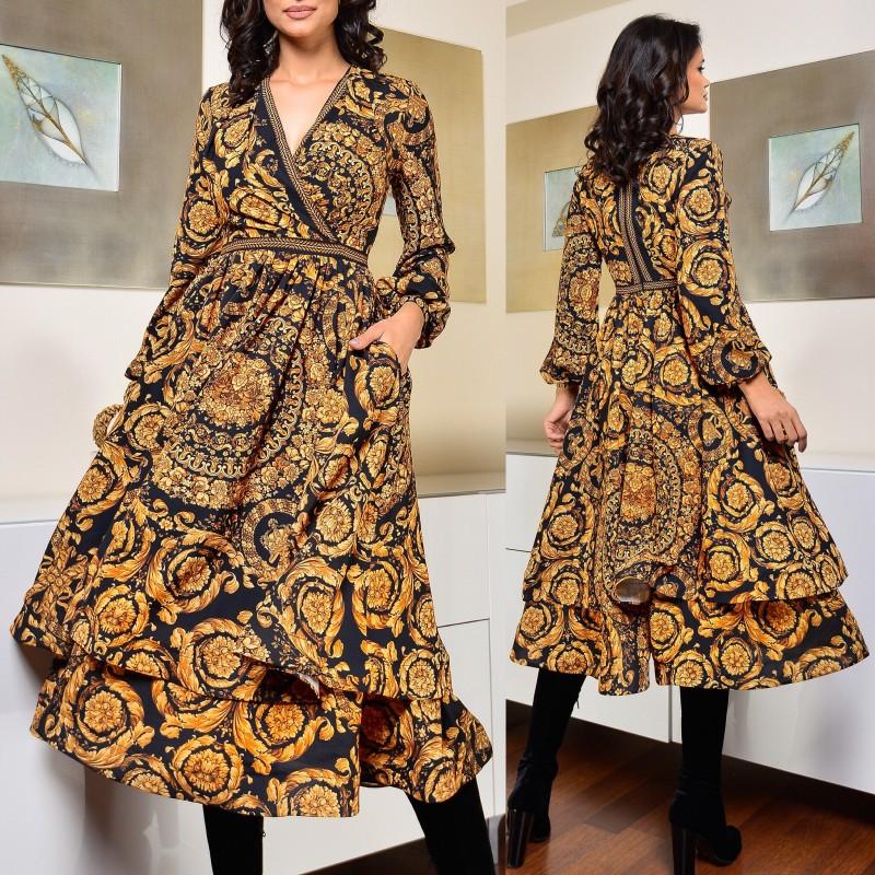 Rochie din satin cu volane si catifea brodata