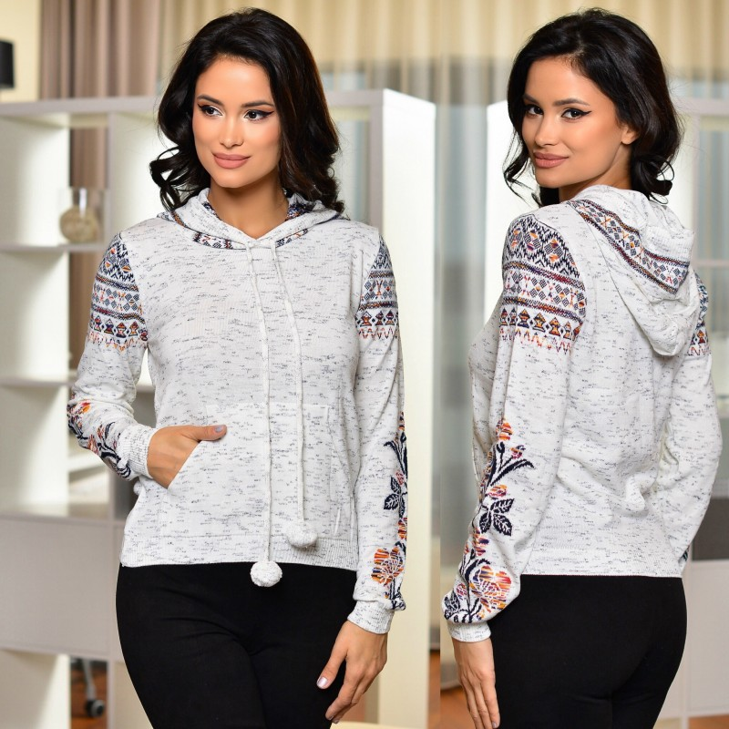 Bluza din tricot cu gluga si model stilizat traditional - 01