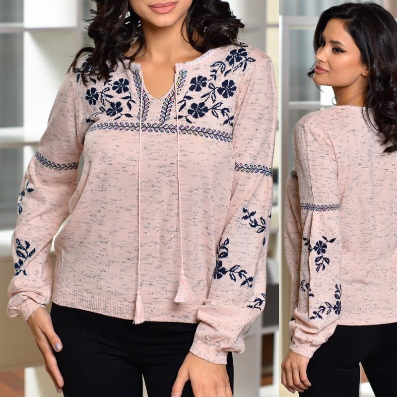 Bluza din tricot cu gluga si model stilizat traditional - 02