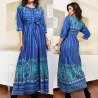 Rochie lunga stilizata cu snur in talie - albastra
