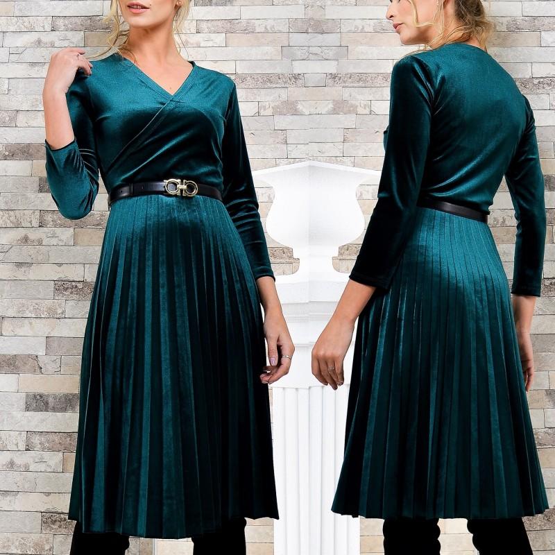 Rochie din catifea verde plisata evantai