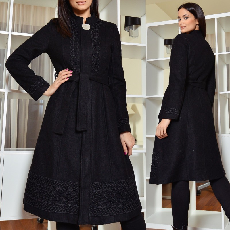 Palton din stofa de lana brodat - negru