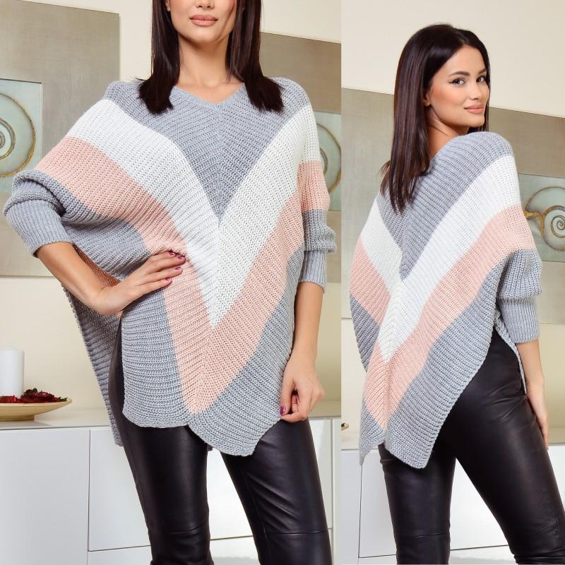 Poncho din tricot cu maneci - Valentina