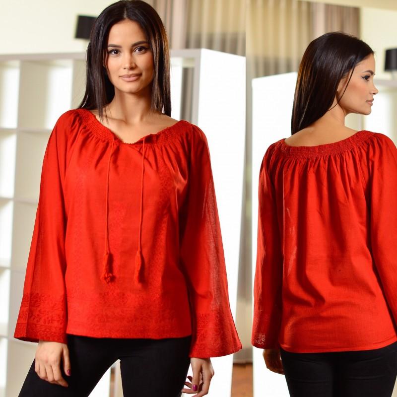 Bluza Traditionala Agapia - rosie 02