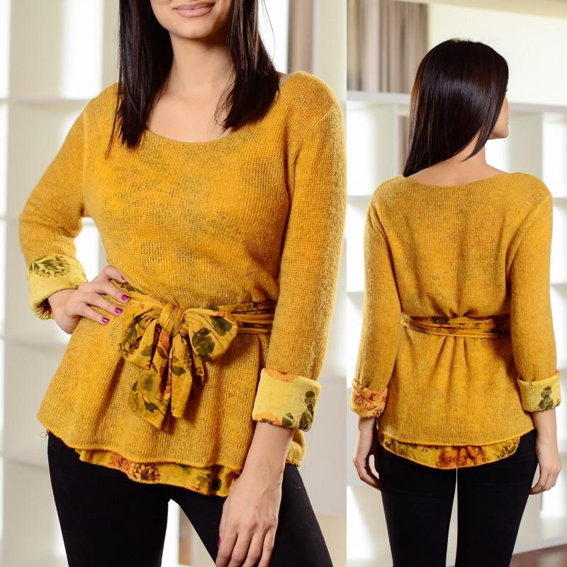Set - bluza din tricot + bluza din bumbac cu model floral si esarfa inclusa 01