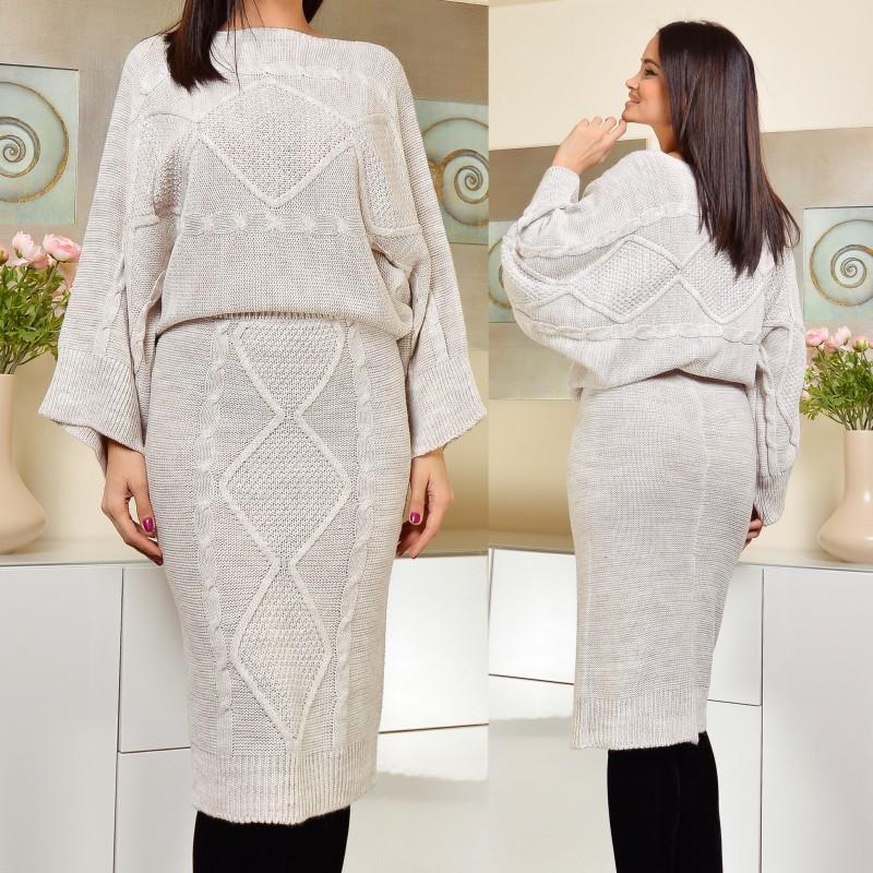 Set format din fusta si pulover - bej