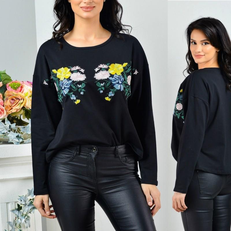 Bluza neagra brodata - Antonia