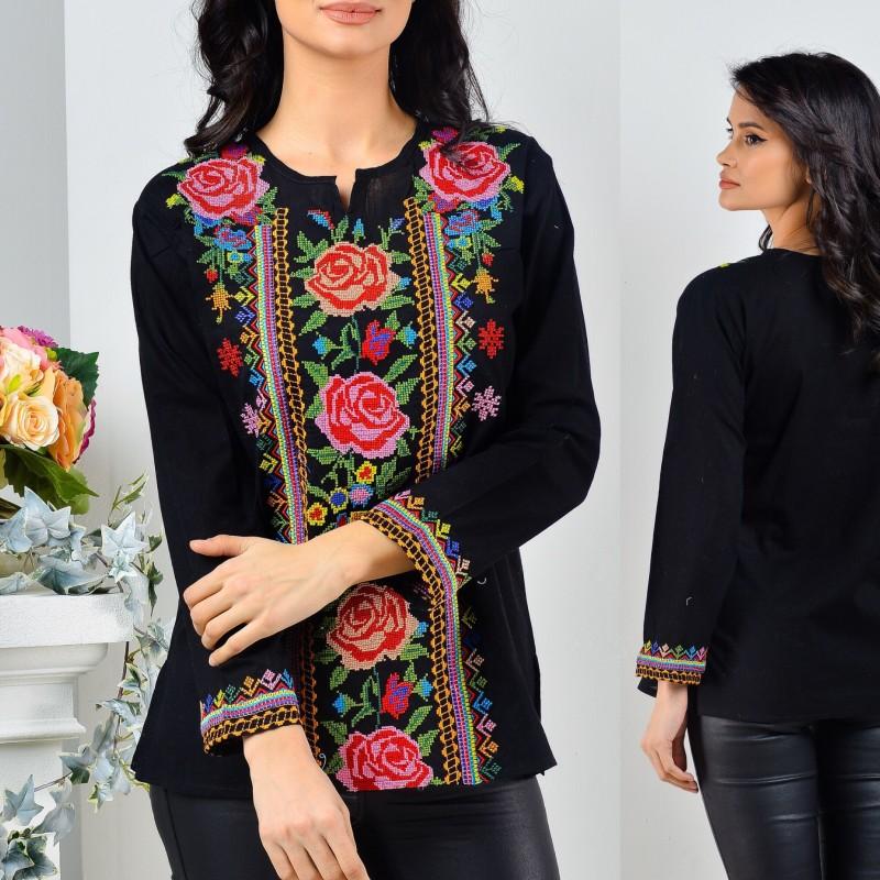 Bluza neagra cu broderie florala - Brandusa