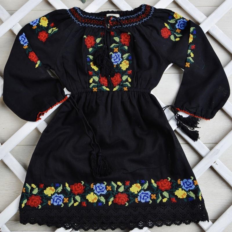 Rochie traditionala fetite - Aura neagra