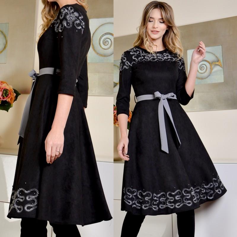 Rochie din spandex perforat neagra