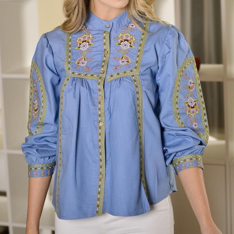 Bluza brodata cu guler tunica - Maia