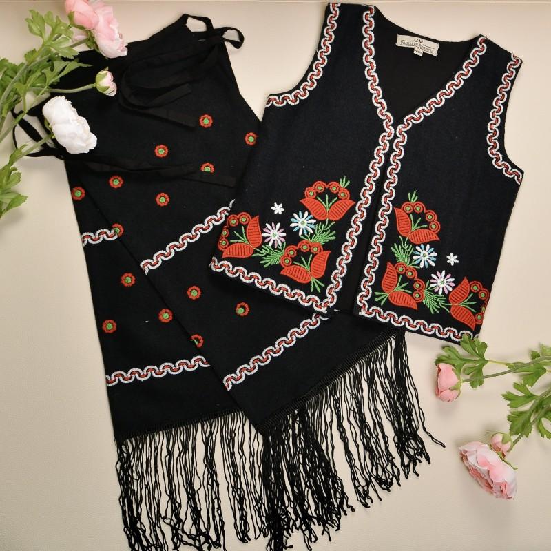 Costum traditional format din vesta si fota fetite - Elisabeta