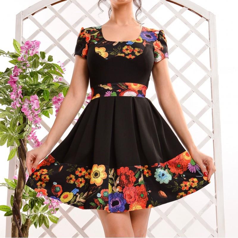 Rochie neagra clos cu imprimeu floral