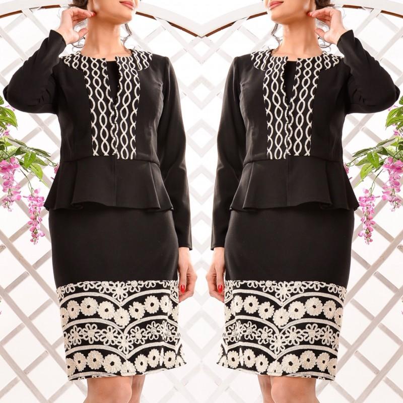 Compleu elegant brodat format din rochie si sacou - negru