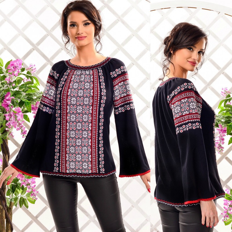 Bluza din tricot cu model stilizat traditional - neagra 03