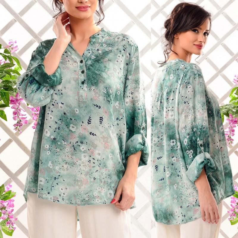 Bluza tip camasa cu imprimeu floral -