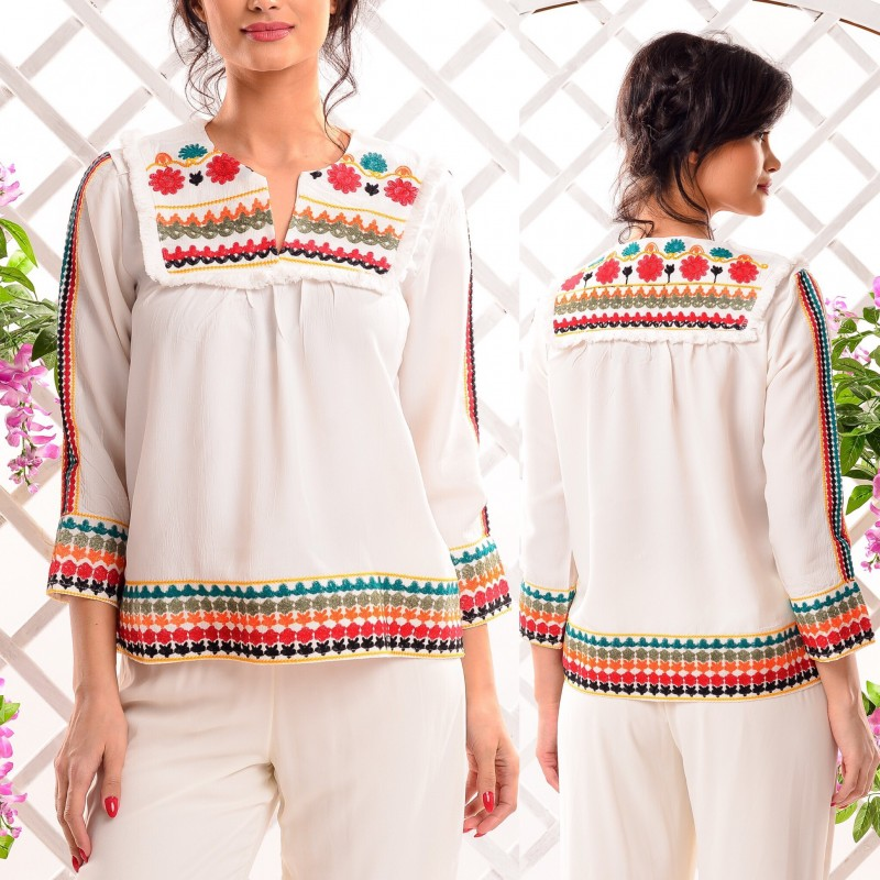 Bluza Nationala brodata alba