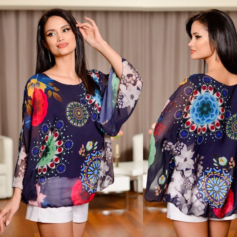 Bluza bleumarin din voal cu imprimeu