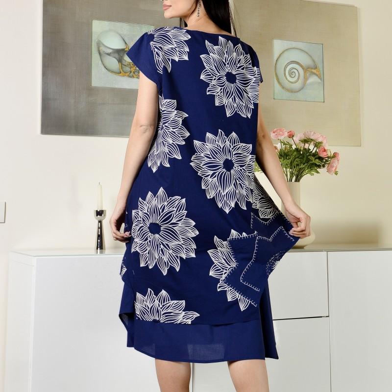 Rochie bleumarin cu imprimeu floral - Sandra