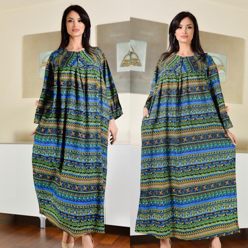 Rochie lunga cu imprimeu multicolor 02