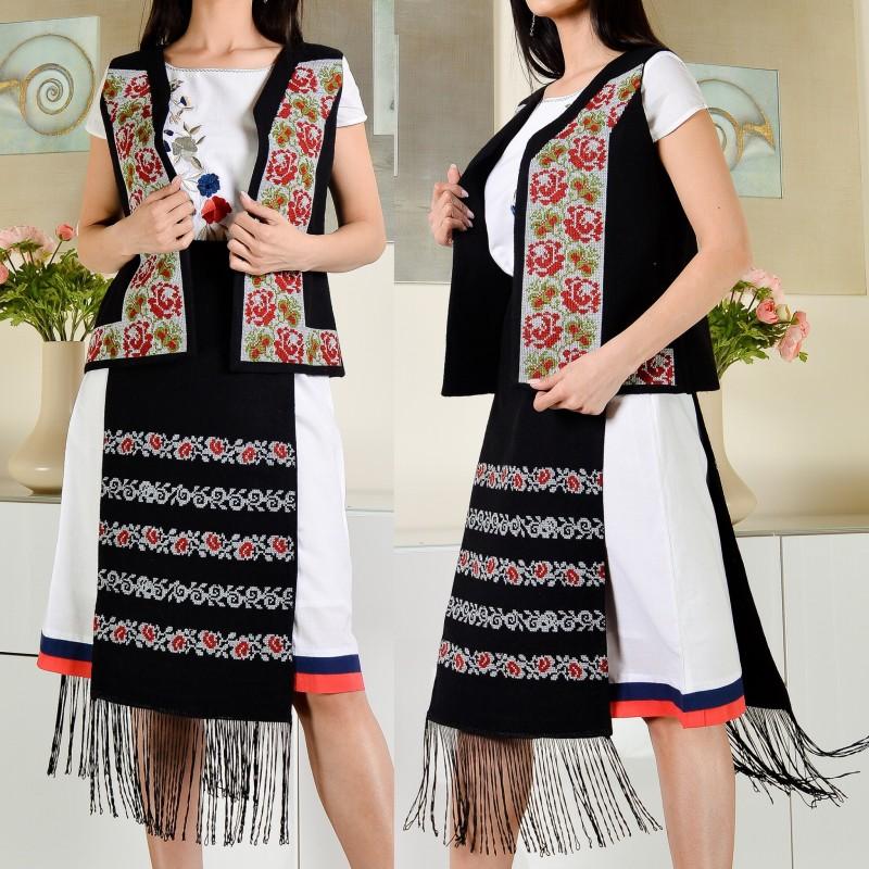 Set Traditional brodat compus din vesta si fota - Ecaterina