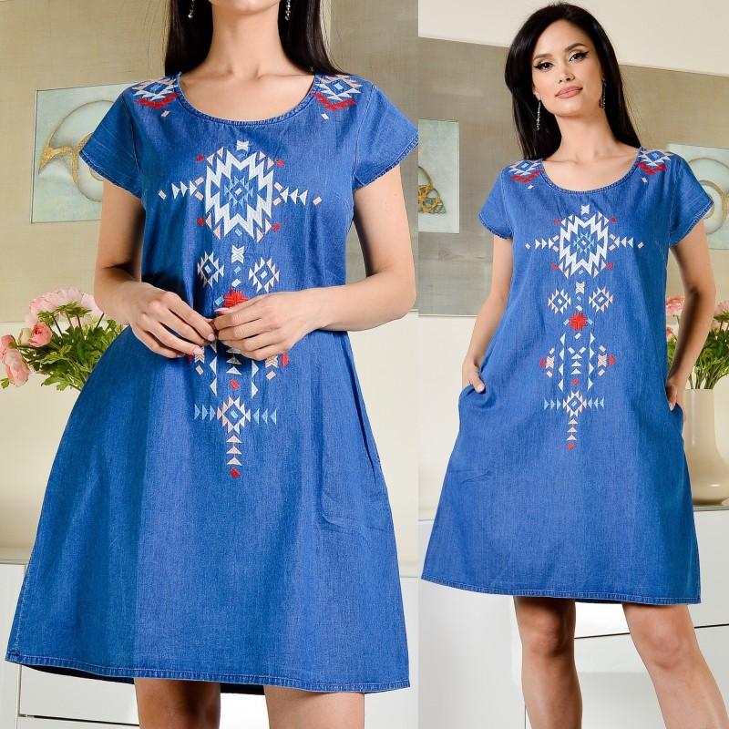 Rochie din blug stilizata cu broderie florala - Briana