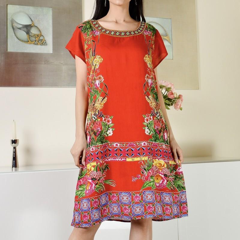 Rochie rosie cu imprimeu floral - Sorana