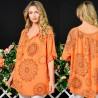 Bluza portocalie vaporoasa cu imprimeu