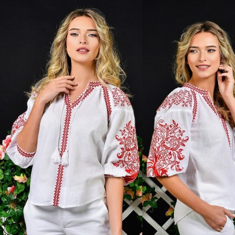 IE Traditionala alba cu broderie rosie - Silvia 04