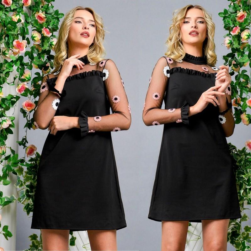 Rochie neagra din voal cu flori brodate