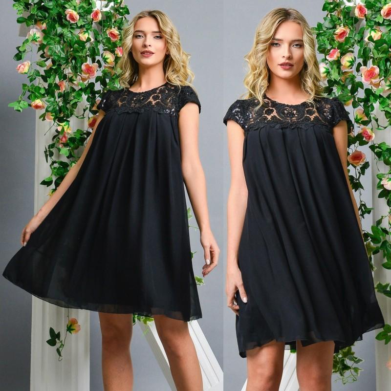 Rochie stilizata neagra din voal cu dantela