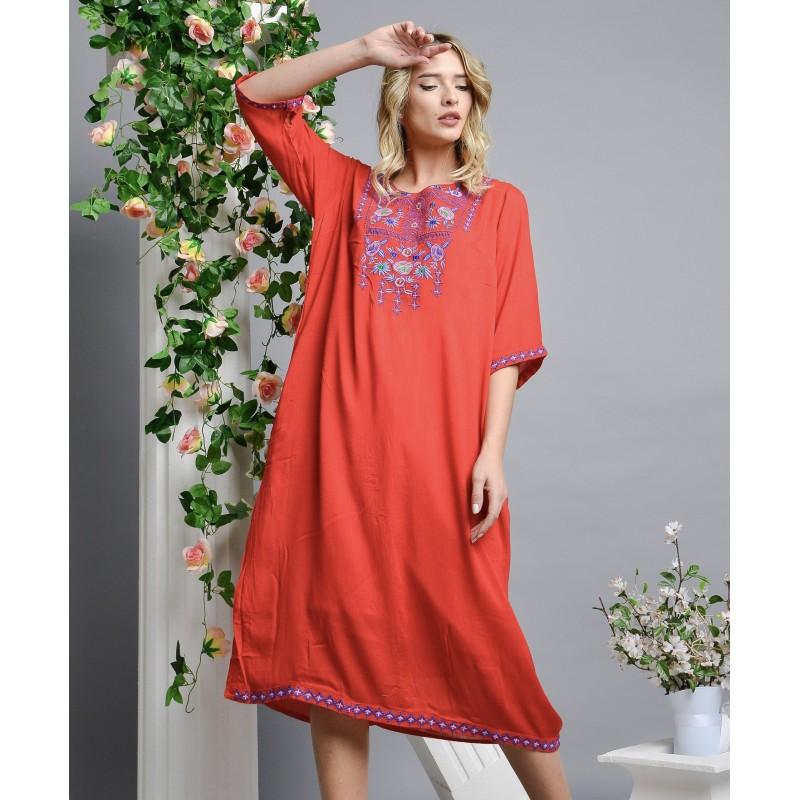 Rochie Traditionala rosie cu flori brodate - Corina