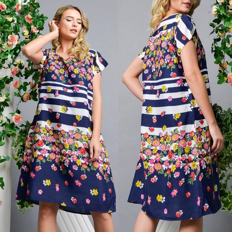 Rochie bleumarin cu imprimeu floral si croi lejer