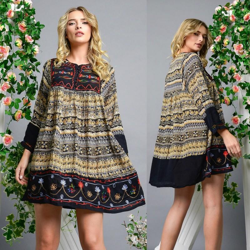 Rochie brodata cu imprimeu floral - Izabela 04