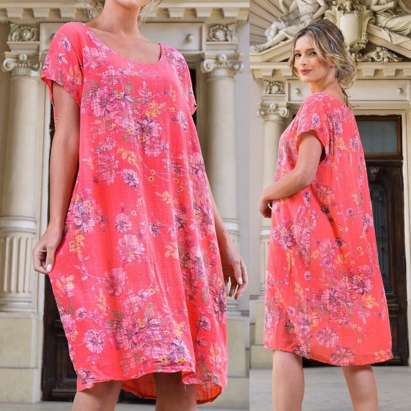 Rochie roz vaporoasa cu imprimeu floral