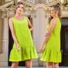 Rochie verde din in cu volane