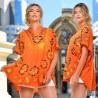 Bluza fluture portocalie cu imprimeu floral