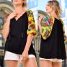 Bluza neagra cu imprimeu floral galben pe maneci - Florentina 01