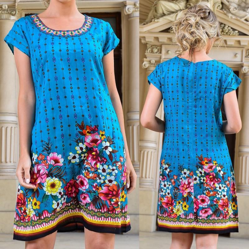 Rochie albastra cu imprimeu floral - Silvia 02