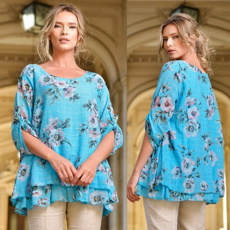 Bluza turcoaz  vaporoasa cu imprimeu floral si volane