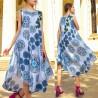 Rochie vaporoasa bleu cu imprimeu