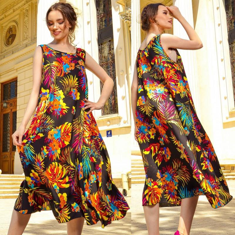 Rochie neagra cu print floral multicolor