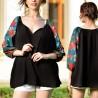 Bluza neagra cu imprimeu floral verde pe maneci - Florentina 03