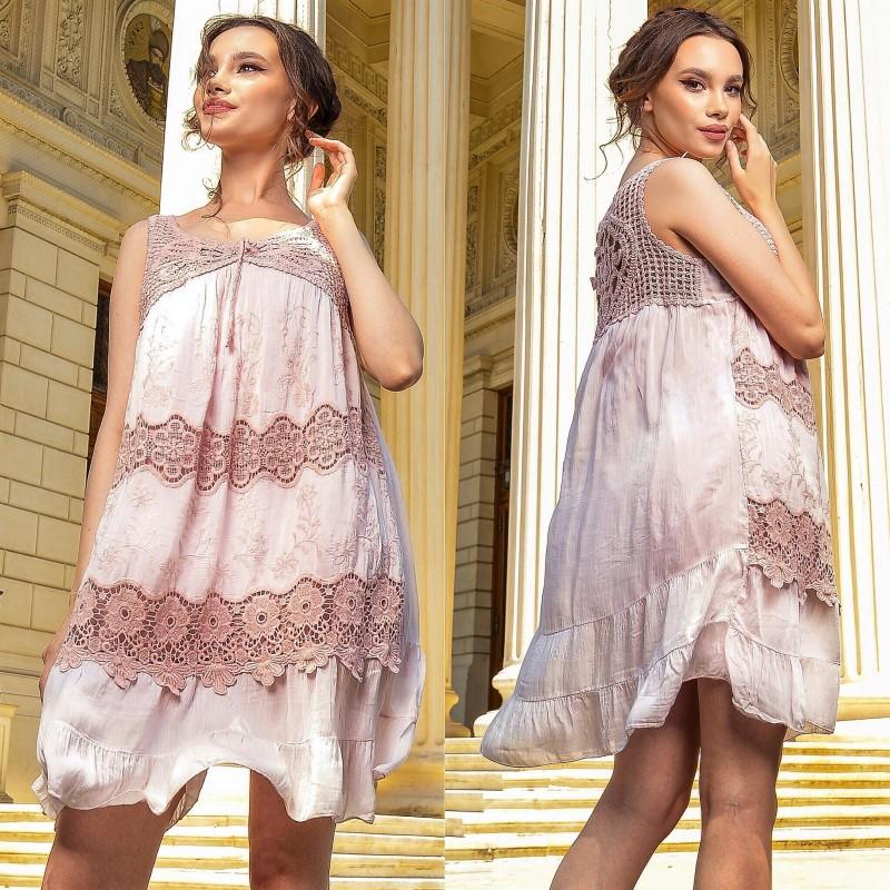 Rochie brodata din matase roz perlat - Daria